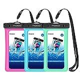 MoKo Universal Bolsa Estanca, 3PZS Flotante Funda Impermeable para iPhone 12 12 Mini 12 Pro,11,11 Pro, Pixel 4, Pixel 4 XL, S10/S10 Plus/S10e/Samsung S21 y teléfono 5.7'' - Rosa Roja + Azul + Verde