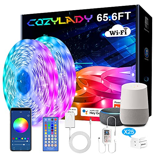 Cozylady Alexa LED Strip Lights 65.6FT, Smart LED Light Strips Compatible with Alexa, Google Home Controlled by APP -...
