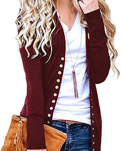 CNFIO Damen Strickjacke Pullover Casual Cardigan Langarm Knopf V-Ausschnitt Outwear Mantel Winter B-Rot XXL
