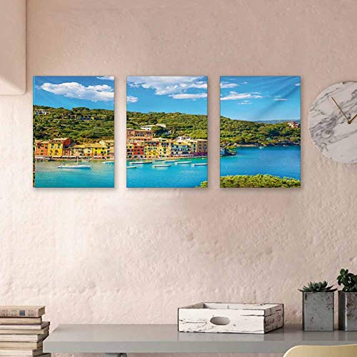 "Italy Hand-Painted Oil Painting Canvas Portofino Landmark Aerial Panoramic View Village and Yacht Little Bay Harbor Print on Canvas Art Art Prints for Home Walls Decor, 24""x47""x3 Panels"