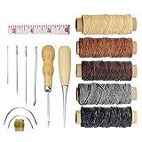 FEIGO 16pcs Kit Hilo Encerado de Cuero 5 Color 150D 1 mm con Agujas de Coser Recta y Curva Herramienta Costura a Mano para Reparación Trabajar Cuero Lonas Manualidades