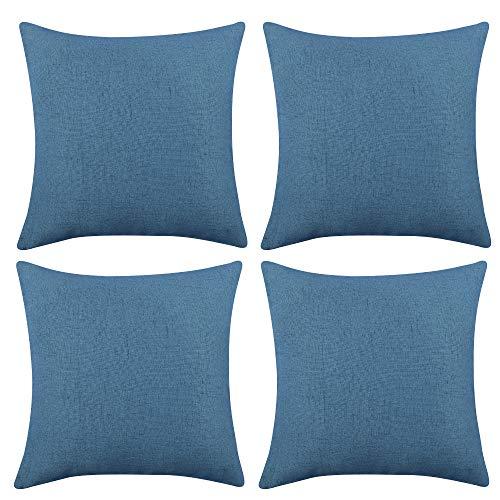 Deconovo Funda para cojin Protectora 4 Piezas 50x50cm Azul Oscuro