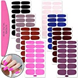 SILPECWEE 8 Sheets Adhesive Nail Art Polish Stickers Strips And 1Pc Nail File Glittery Solid Color Design Nail Wraps Decals Manicure Tips Set