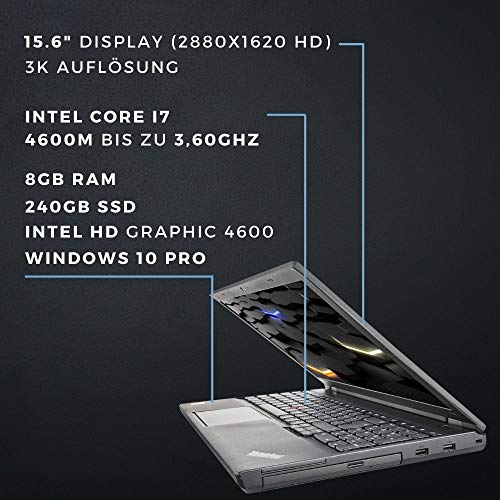 Lenovo Thinkpad T540p - i7-4600M 2,9 GHz CPU - 8 GB RAM - 15,6 Zoll - 2880x1620 IPS Pixel - 240 GB SSD - UMTS - Webcam - Backlight Tastatur - Windows 10 Pro (Generalüberholt)