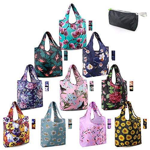 10 Pack Washable Grocery Bags for Shopping Reusable Tote Bags w Zipper Storage Pouch Extra Large 50LBS Foldable Floral Reusable Bags for Women Men Lightweight Durable Waterproof