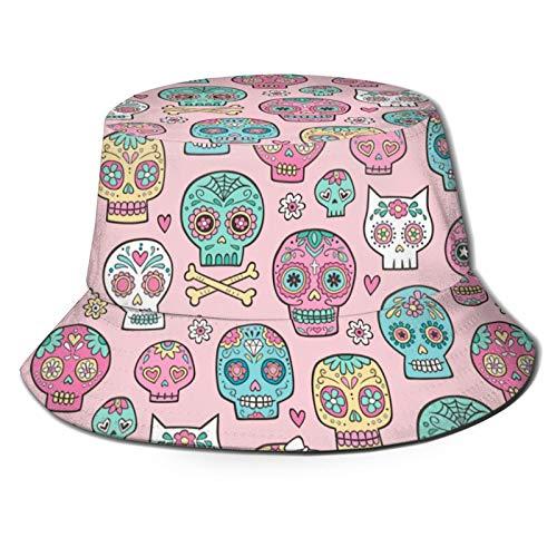 136 Happy Easter Sugar Skulls su rosa Unisex Travel Bucket Hat Summer Fisherman Cap