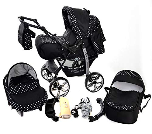 Kamil, Classic 3-in-1 Travel System with 4 STATIC (FIXED) WHEELS incl. Baby Pram, Car Seat, Pushchair & Accessories (White Polka Dots)