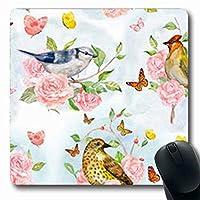 マウスパッド春のレトロなかわいい鳥蝶の枝に青い鳥ヴィンテージバラベリーオリエンタル長方形7.9 X 9.5インチ長方形ゲーム用マウスパッド滑り止めマウスマット 18x22cm