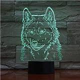 Año Nuevo Regalo de Navidad Cabeza de lobo Lámpara de mesa 3D Forma de animal LED Luz USB Decoración USB Acrílico Luz nocturna