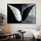 QianLei Alas de ángel en Blanco y Negro Pintura de Lienzo Abstracta Carteles e Impresiones Cuadros Cuadros de Arte de Pared para Sala de Estar Decoración de Dormitorio 50x75cm sin Marco