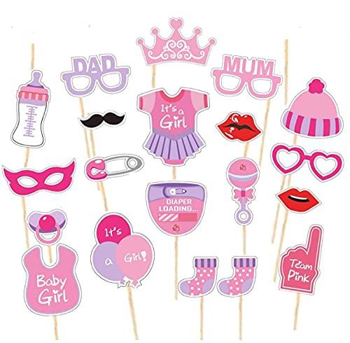Accesorios para fotomatón de Baby Shower De niña, accesorios de fotografía listos para usar, gafas, bigote, labios, pajarita, sombreros en palos, para baby shower y decoraciones para fiestas.