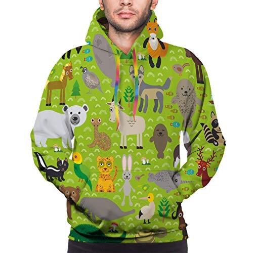 Unisex 3D Fashion Digital Print Pullover Hooded Sweatshirts with Pockets Seamless Pattern Bison Bat Fox Wolf elk Horse Cock Partridge Seal Walrus Goats Polar Bear Eagle Bull Raccoon Snake Sheep Pan