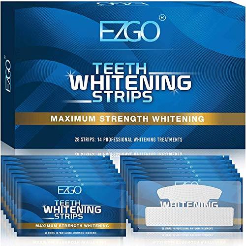 EZGO White Stripes Zähne Bleaching Stripes , Teeth Whitening Strips Zahnaufhellung Stripes für empfindliche Weiße Zähne, Peroxidfreie Zahnaufhellungs kits, mit Advanced No-Slip Technology (14 Set)
