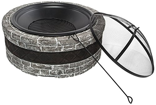 Sun Joe SJFP35-CS-STN Cast Stone Base, Wood Burning Fire Pit w/Dome Screen, Charcoal Gray