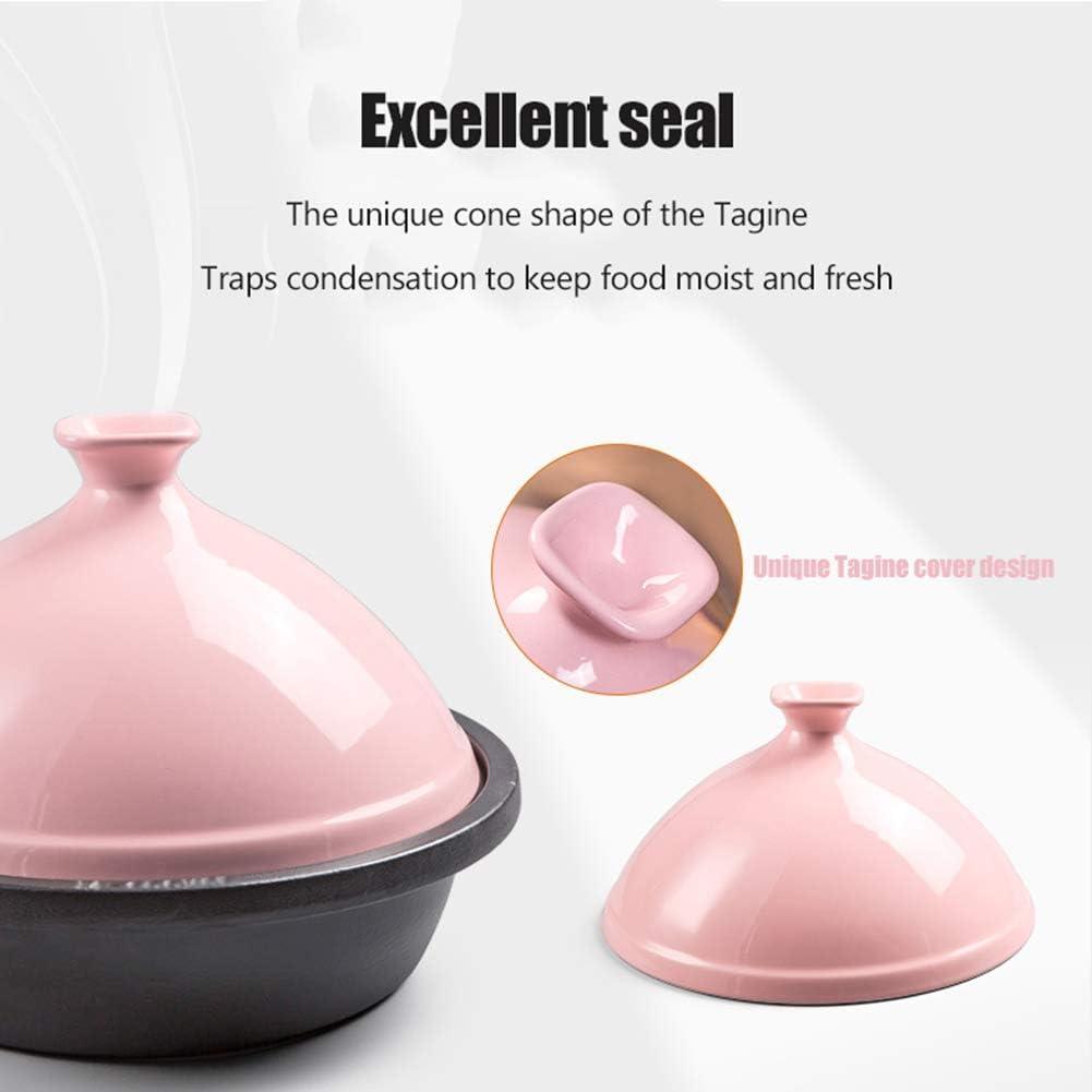 Marmite de 30 Cm marmite à tajine en Fonte pour la Cuisson et Le ragoût Casserole à la mijoteuse sans Plomb - Meilleur Cadeau Rose Pink