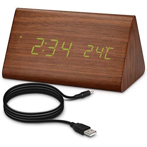 Digitale Wekker Met Temperature Data Display & 3 Alerts USB Opladen Klok Geschikt Voor Slaapkamers Woonkamer Keuken Best Gift for Children,Green font