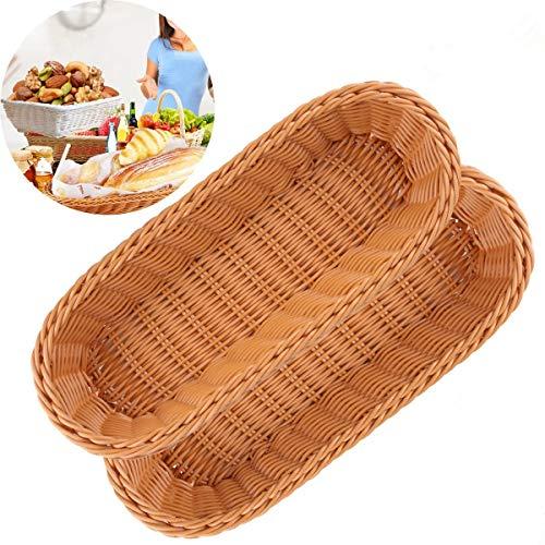 Ok-Dragon Cesta de Pan,Bandeja de cestas de Servicio de Mimbre de 2 Polietileno Bandeja para Restaurante/Cocina / Mesa de café Decoración de exhibición Snacks de Fruta Contenedor