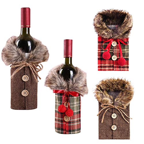 Paquete de 4 fundas para botellas de vino de Navidad, collar de...