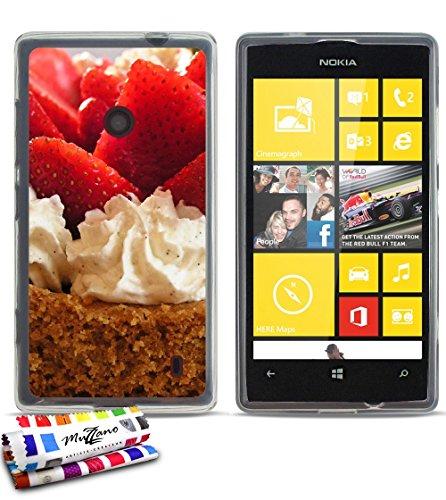 Muzzano–Cover morbida ultra sottile Nokia Lumia 520al motivo esclusivo [Delice alle fragole] [trasparente] di MUZZANO + Pennino e Panno Muzzano offerti–La protezione antigraffio Ultime, protezione anti-urto elegante e duratura per il vostro Nokia Lumia 520