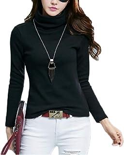 maweisong レディース秋冬タートルネックフリーススリムフィット厚基礎Tシャツ