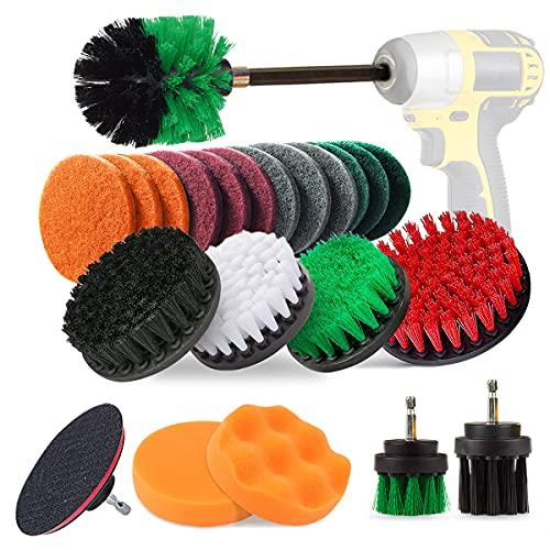 Aufisi - Juego de 23 cepillos de taladro para limpieza de baño, pisos, baldosas de piscina, ladrillo, cerámica, mármol, lechada, coche con barra de extensión de 6 pulgadas para taladro (verde)