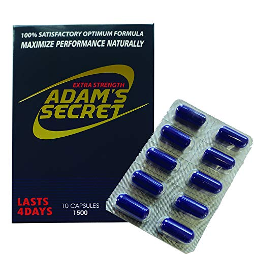 ADAMS SECRET 1500 100% Natural Pills for Men Boost Your Performance, Energy, and Endurance 10 Pills Per Pack