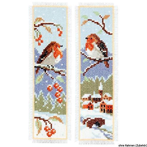 Vervaco Kit marque-page Rouge-gorges lot de 2,Blanc,6 x 20 x 0,3 cm