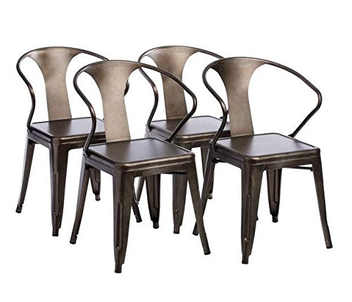 Tabouret Stacking Chair (Set of 4). This Set Of Dining Room Chairs Is Perfect For Adding A Vintage Look To Your Home… - Product features: Non-mar foot glides, stackable for space saving storage Set includes: Four (4) chairs Materials: Steel - kitchen-dining-room-furniture, kitchen-dining-room, kitchen-dining-room-chairs - 51LdIBEYsZL -