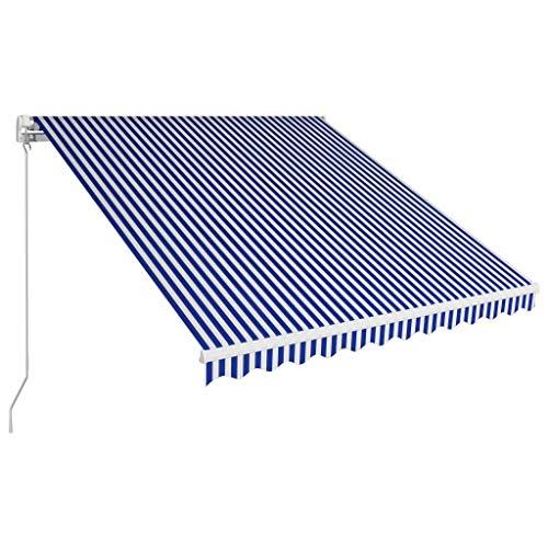 VidaXL luifel, handmatig, intrekbaar, voor terras, luifel, tuin, balkon, luifel, voor buiten, schaduw van de ramen, 250 x 250 cm, blauw en wit