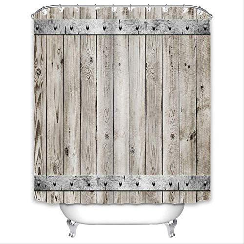Seremy douchegordijn met haken van PEVA tegen schimmel, wasbaar, duurzaam, 3D-effect 100% polyester; deur van smal hout