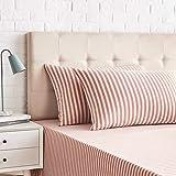 Amazon Basics - Juego de 2 fundas de almohada, diseño de rayas, 50 x 80 cm, Rojo Claro