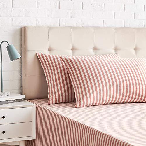 Amazon Basics-Juego de 2 fundas de almohada, diseño de rayas, 50 x 80 cm, Rojo Claro