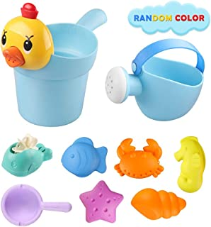 DX DA XIN Beach Sand Toys for Kids, Toddler Outdoor Pool Bath Play Set Sandbox Toys with Waterwheel, Duck Bucket, Watering Can and Mold Fun Beach Toys for Toddlers Kids Boys Girls (9 Pcs)