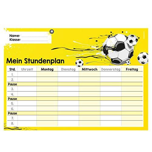younikat Fußball Stundenplan abwischbar I DIN A4 I Rückseite magnetisch für den Kühlschrank I Jungen Jungs Teenager, cool I mit Stift I dv_645