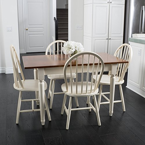 Christopher Knight Home Gates 5-piece Spindle Wood Dining Set with Leaf Extension, Dark Oak, Antique White