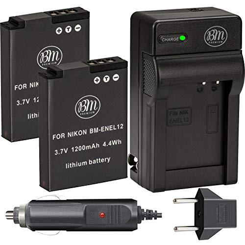 BM Premium 2 EN-EL12 Batteries and Charger for Nikon Coolpix A1000 B600 W300 A900 AW100 AW110 AW120 AW130 S6300 S8100 S8200 S9050 S9200 S9300 S9400 S9500 S9700 S9900 P310 P330 P340 KeyMission 170, 360