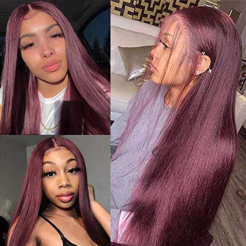 Burgundy Dark Red Color Pre Plucked Bleached Knot Wigs 13x4 HD Transparent Lace Front Human Hair Wigs 99J Straight Lace Frontal Wig For Women (18inch, 13X4 Lace Front Wig)