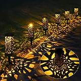 Tomshine Luces impermeables LED solares para exteriores, paisajes, patios y jardines 6 piezas Blanco cálido