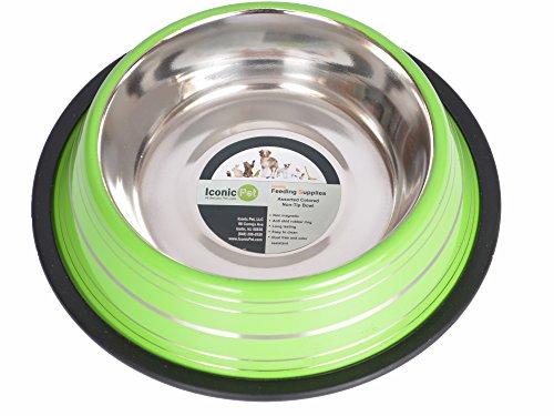 Iconic Pet Color Splash tazón de comida de acero inoxidable para perro con anillo extraíble antideslizante que lo convierte en un recipiente de agua estable para cachorros en...