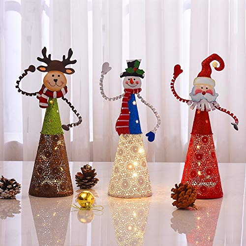 FORUP Lighted Christmas Table Decorations, Set of 3 LED Lighting Santa Snowman Reindeer