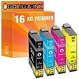 Gorilla-Ink 16 Cartuchos de Tinta XXL Compatible con Epson 502 XL 502XL | Adecuado para Epson Expression Home XP-5100 XP-5105 XP-5115 Epson Workforce WF-2860 DWF WF-2865 DWF
