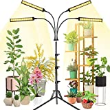 Grow Light with Stand, fayleer Plant Grow Light Grow Light for Indoor Plants, 4 Heads, Full Spectrum, Adjustable Gooseneck, 6 Dimming Modes and 4 Spectral Modes, 3/6/12H Timer