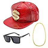 CHUANGLI Hip Hop Costume Kit 80s/90s Cool Rapper Outfits Accessories Snapback Baseball Cap DJ Sunglasses Gold Plated Chain(Red)