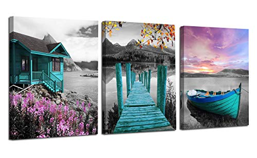 Ardemy Canvas Wall Art Landscape Lake Painting Cabin Teal Purple Sail Boat Pictures Framed Modern Cottage Artwork for Living Room Bedroom Bathroom Kitchen Wall Decor, 12'x16'x3 Panels