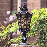 Lámpara de Columna Impermeable Europea IP55 Lámpara de Poste de luz Exterior E27 con Vidrio para Villa Patio Trasero Pasarela Patio Puerta para jardín Césped
