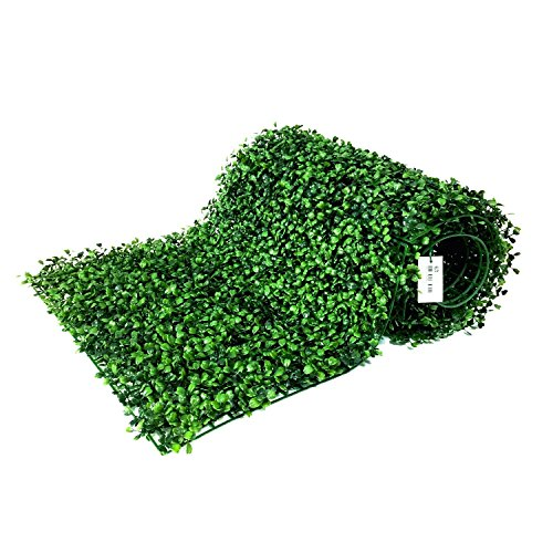 "BESAMENATURE 12 Piece Artificial Boxwood Hedge Panels, UV Protected Faux Greenery Mats for Both Outdoor or Indoor Decoration, 20"" L x 20 W"