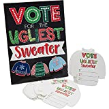 Ugly Christmas Sweater Voting Cards for Holiday Parties, Xmas Party Game (51 Pieces)