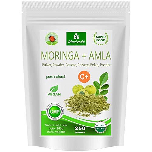 MoriVeda® - Moringa+Amla Pulver - Moringa Oleifera Premium Blattpulver und Amla (Amalaki) Fruchtpulver, vegan, mikrofein vermahlen (1x250g)