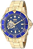 Invicta Men's 13711 Grand Diver Automatic Blue Textured Dial 18k Gold Ion-Plated Stainless Steel Watch