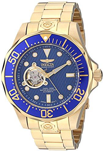 Invicta Relógio masculino 13711 Grand Diver automático azul texturizado mostrador azul 18 k banhado a ouro iônico